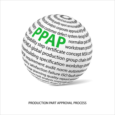 main part: Production part approval process word ball. White ball with main title PPAP and filled by other words related with PPAP method. Illustration