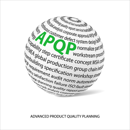 metrology: Advanced product quality planning word ball. White ball with main title APQP and filled by other words related with APQP method. Illustration