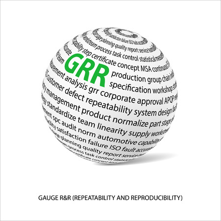 linearity: Gauge repeatability and reproducability word ball. White ball  with main title GRR and filled by other words related with GRR study. Illustration