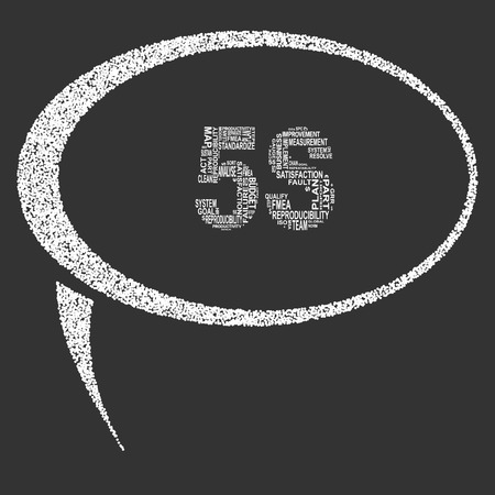 Five S typography speech bubble. Dark background with main title 5S filled by other words related with five S method. Vector illustration Illustration