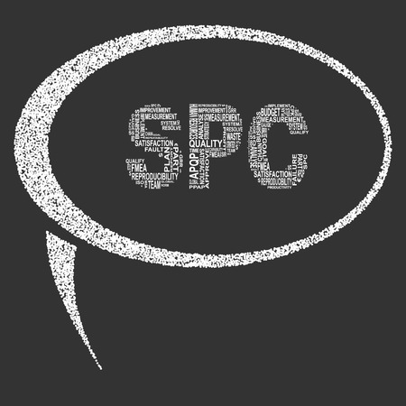 Statistical process control typography speech bubble. Dark background with main title SPC filled by other words related with statistical process control method. Vector illustration