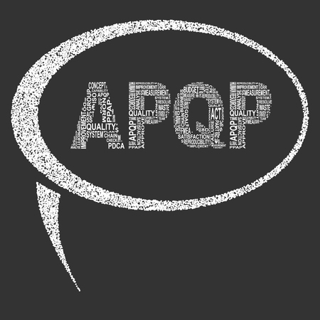 metrology: Advanced product quality planning  typography speech bubble. Dark background with main title APQP filled by other words related with advanced product quality planning  method. Vector illustration