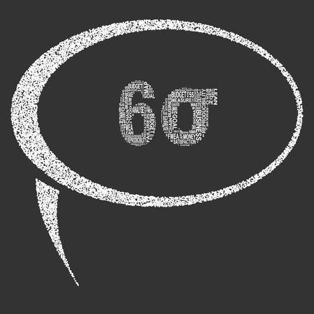 Six Sigma Typographie Sprechblase. Dunkler Hintergrund mit Haupttitel 6 Sigma von anderen Wörtern gefüllt mit Six-Sigma-Methode verwandt. Vektor-Illustration Vektorgrafik