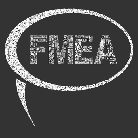 linearity: Failure mode and effect analysis  typography speech bubble. Dark background with main title SFMEA filled by other words related with failure mode and effect analysis  method. Vector illustration