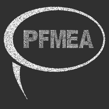 linearity: Process failure mode and effect analysis  typography speech bubble. Dark background with main title PFMEA filled by other words related with process failure mode and effect analysis  method. Vector illustration