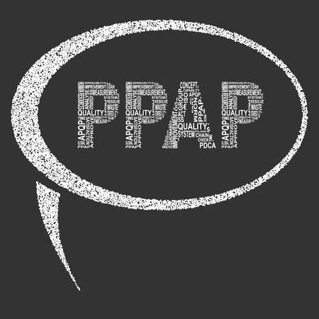 linearity: Production part approval process  typography speech bubble. Dark background with main title PPAP filled by other words related with production part approval process  method. Vector illustration Illustration