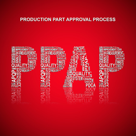 生産部品承認プロセスのタイポグラフィの背景。生産部品承認プロセス方法と関連して赤の背景メイン タイトル PPAP は、他の言葉でいっぱいに。ベ