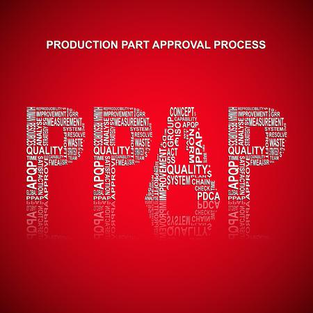 Production Part Approval Process typografie achtergrond. Rode achtergrond met de belangrijkste titel PPAP opgevuld door andere woorden in verband met de productie van een deel goedkeuringsproces methode. vector illustratie