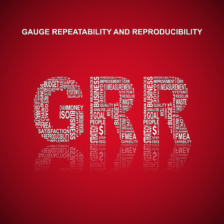 metrology: Gauge repeatability and reproducibility typography background. Red background with main title GRR filled by other related words with gauge repeatability and reproducibility of the method. Vector illustration