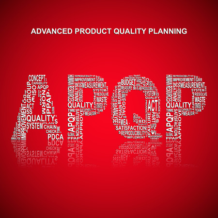 product quality: Advanced product quality planning typography background. Red background with main title APQP filled by other related words with advanced product quality planning method. Vector illustration Illustration