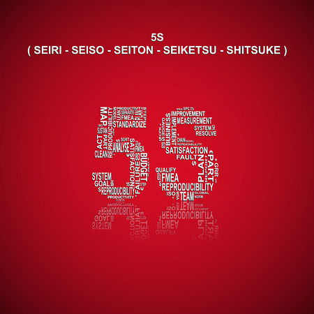 Five S typography background. Red background with main title 5S filled by other related words with total quality management method. Heading title in Japanese language (original words). Vector illustration Illustration