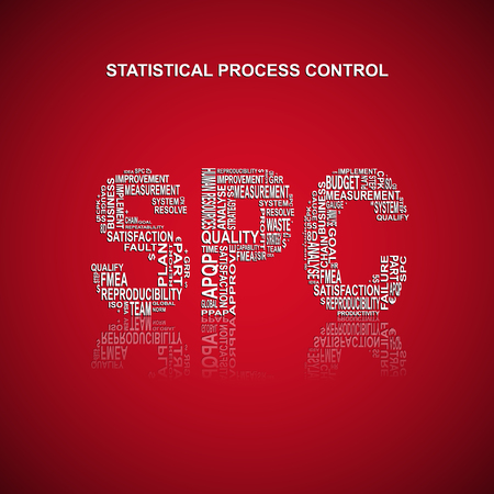metrology: Statistical Process Control typography background. Red background with main title SPC filled by other related words with statistical process control method. Vector illustration Illustration