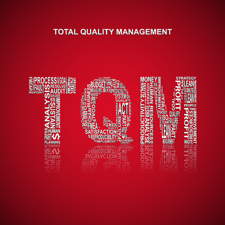 yoke: Total Quality Management typography background. Red background with main title TQM filled by other related words with total quality management method. Vector illustration Illustration