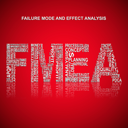 product design specification: Failure mode and effect analysis typography background. Red background with main title FMEA filled by other related words with failure mode and effect analysis method. Vector illustration Illustration