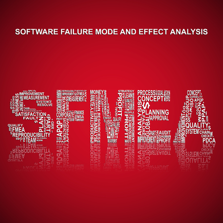 product design specification: Software failure mode and effect analysis typography background. Red background with main title SFMEA filled by other words with software related failure mode and effect analysis method. Vector illustration