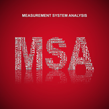 metrology: Measurement System Analysis typography background. Red background with main title MSA would be filled with other words related measurement system analysis method. Vector illustration Illustration