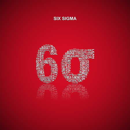 yoke: Six sigma typography background. Red background with main title six sigma filled by other related words with the Six Sigma method. Vector illustration Illustration