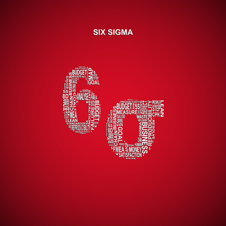 yoke: Six sigma diagonal typography background. Red background with main title 6 sigma filled by other words related with six sigma method
