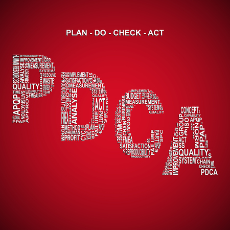 Plan do check act diagonal typography background. Red background with main title PDCA filled by other words related with plan do check act method Illustration