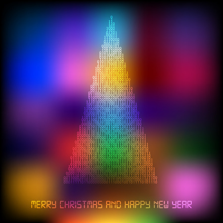 Abstract Merry Christmas and Happy New Year tree filled by binary code on multicolor background