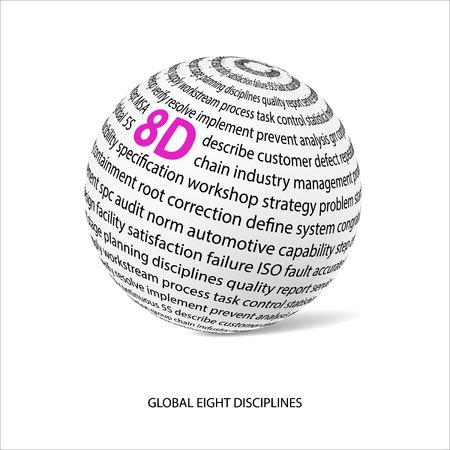 discipline: Global eight discipline word ball. White ball with main title 8D and filled by other words related with 8D method. Vector illustration