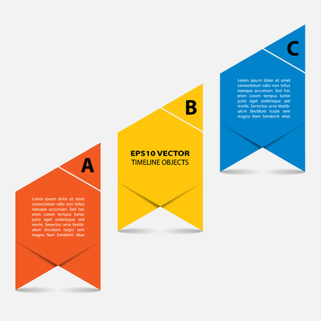 succession: Three steps timeline objects. Abstract shape with shadows. Place for text inside shape. Vector illustration. Illustration