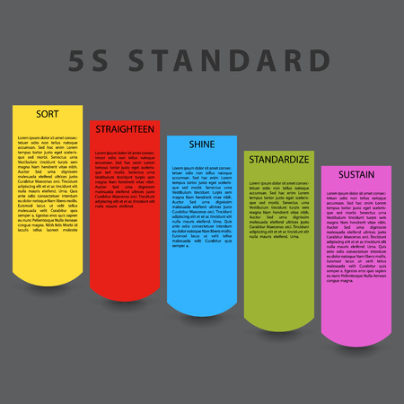 straighten: 5S standard paper template. Colorful objects with place for description and shadow effect under objects. Illustration