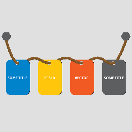 gradual: Four cards on the rope. Cards for timeline or guide steps. Web timeline elements. Four colors. Vector illustration