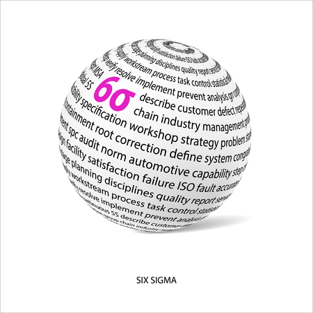 Six sigma word ball. White ball with main title 6i and filled it with other words related 6i method. Vector illustration Illustration
