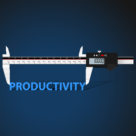 productivity: Abstract business background with digital slide gauge and title Productivity.