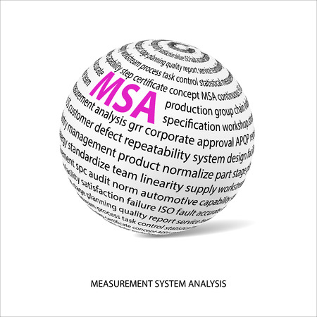 linearity: Measurement system analysis word ball. White ball with main title MSA and filled by other words related with MSA method. Vector illustration Illustration