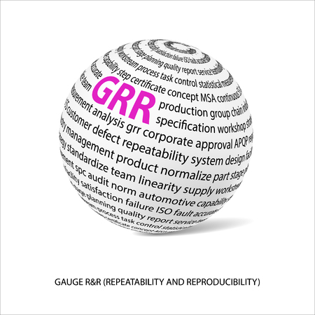 repeatability: Gauge repeatability and reproducability word ball. White ball  with main title GRR and filled by other words related with GRR study. Vector illustration