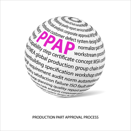 main part: Production part approval process word ball. White ball with main title PPAP and filled by other words related with PPAP method. Vector illustration