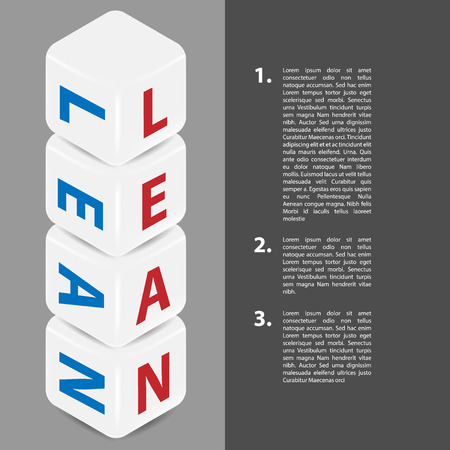 Lean strategy background. Title Lean infour cubes.  Lean is modern program of productivity. Vector illustration. Place for text on the right side Illustration