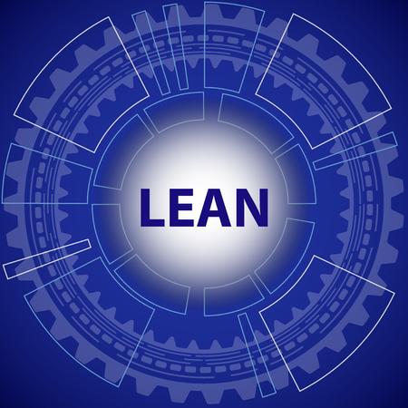 Lean strategie achtergrond. Blauwe achtergrond met toestel en de titel Lean in het midden. Vector Illustratie