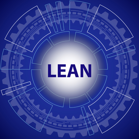 to lean: Lean strategy background. Blue background with gear and title Lean in middle.