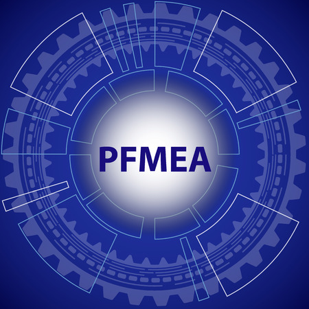 product design specification: Process failure mode and effect analysis strategy background. Blue background with gear and title PFMEA in middle.
