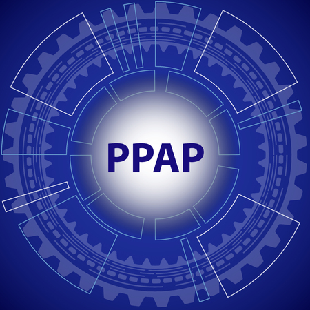 Production Part Approval Process strategy background. Blue background with gear and title PPPAP in the middle. Illustration