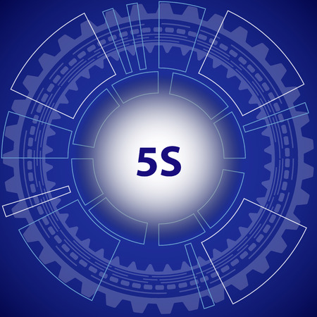 5s: Five S strategy background. Blue background with gear and title 5S in middle.