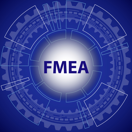 Möglichkeits- und Einfluss-Analyse Strategie Hintergrund. Blauer Hintergrund mit Getriebe und Titel FMEA in der Mitte.