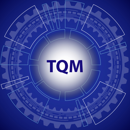 yoke: Total quality management strategy background. Blue background with gear and title TQM in middle.