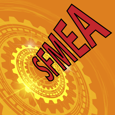 Software failure mode and effect analysis strategy background. Orange industrial background with gear and red title SFMEA