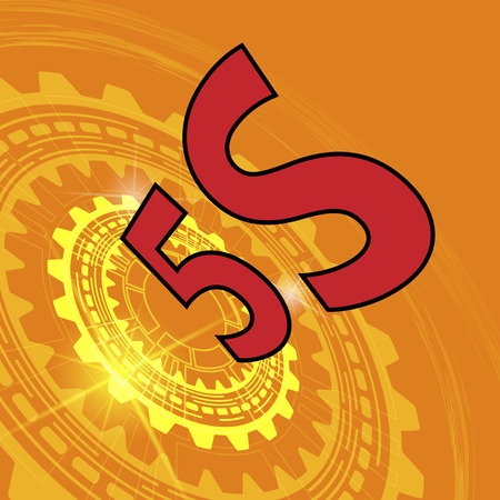 5s: Five S strategy background. Orange industrial background with gear and red title 5S