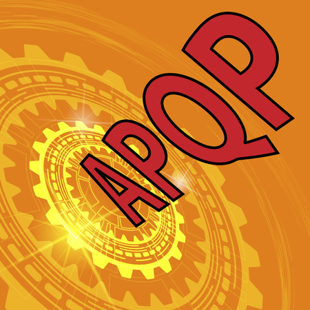 metrology: Advanced product quality planning strategy background. Orange industrial background with gear and red title APQP
