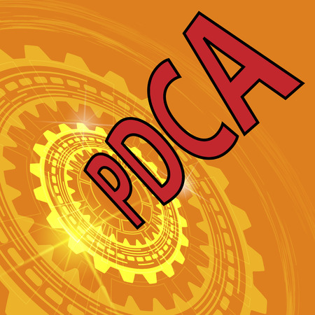 pdca: Plan do check act strategy background. Orange industrial background with gear and red title PDCA