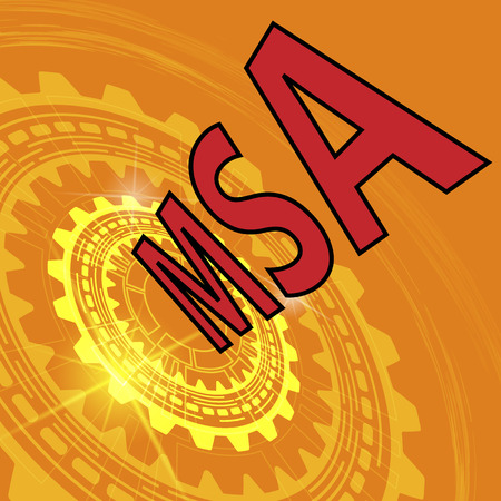 Measurement system analysis study background. Orange industrial background with gear and red title MSA