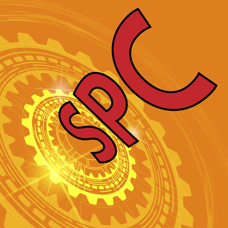 Statistical process control method background. Orange industrial background with gear and red title SPC