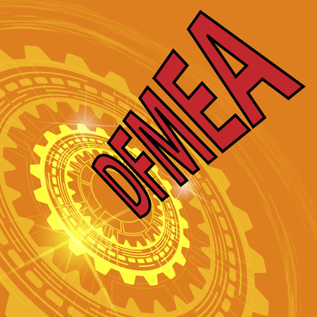 product design specification: Design failure mode and effect analysis strategy background. Orange industrial background with gear and red title DFMEA