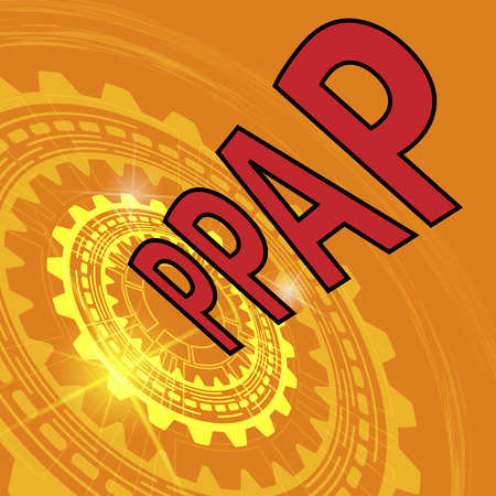 repeatability: Production part approval process strategy background. Orange industrial background with gear and red title PPPAP Illustration