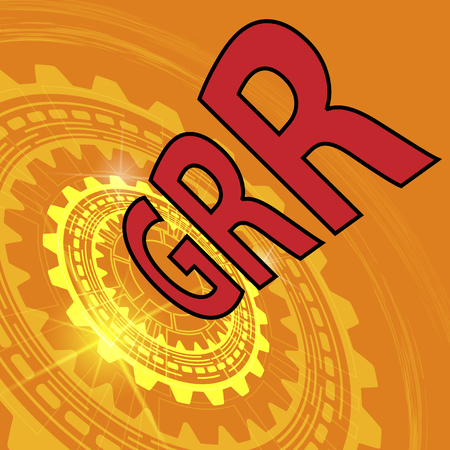 repeatability: Gauge repeatability and reproducibility study background. Orange industrial background with gear and red title GRR Illustration